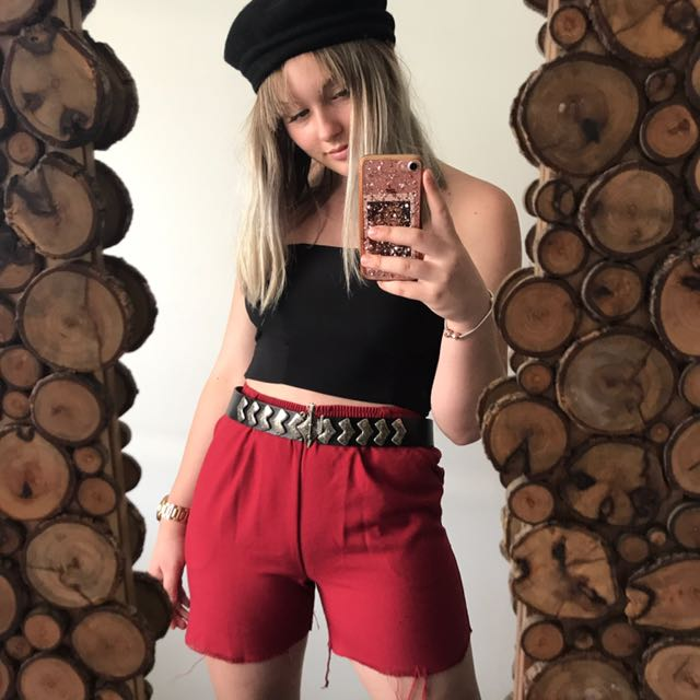 Red mom shorts