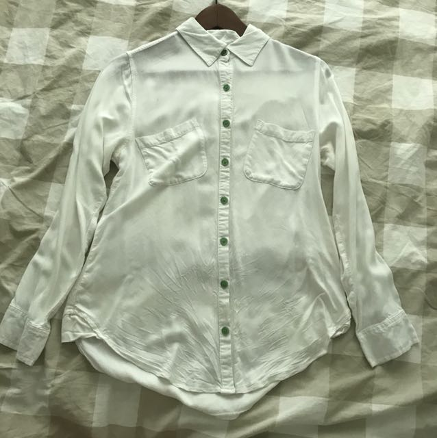 Roxy Rayon White Shirt with Green buttons