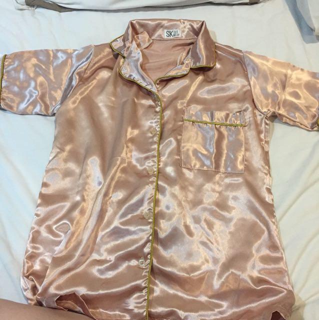 satin piyama pajamas sleepwear kemeja