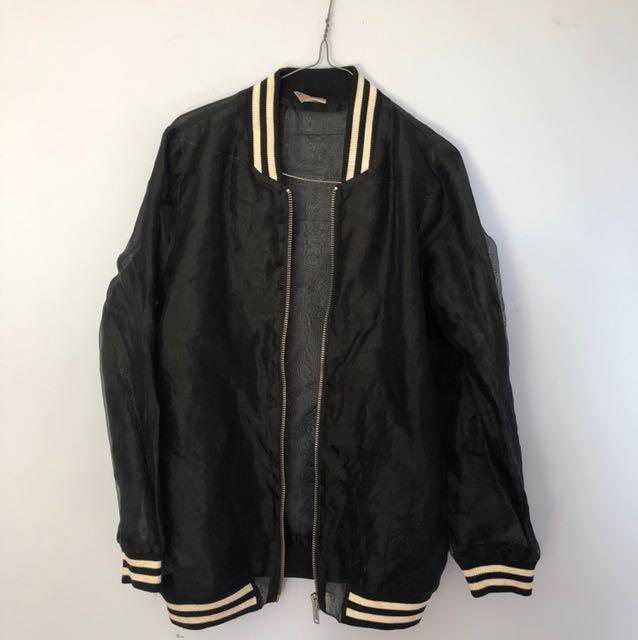 Seethrough black bomber jacket