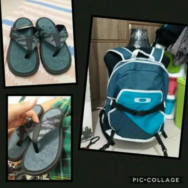 Set auth Oakley slippers and Backpack