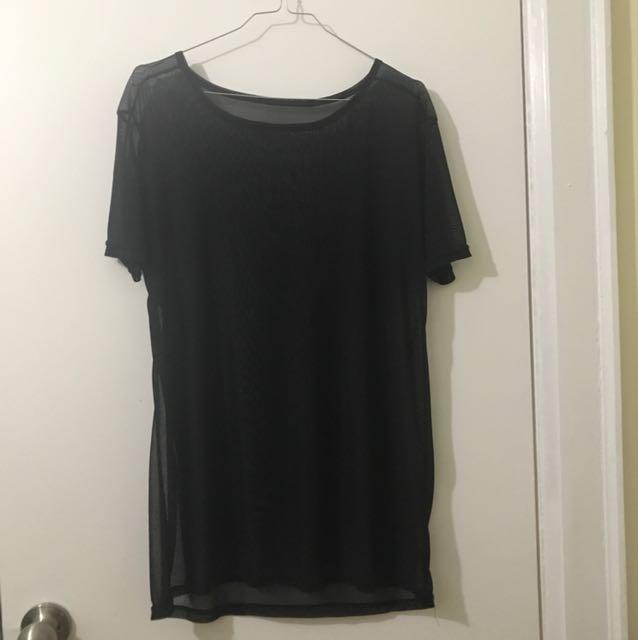 Sheer Black Mesh Oversized T-Shirt