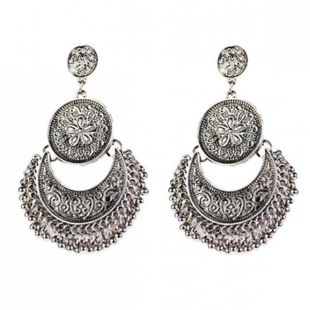 Silver festival earrings
