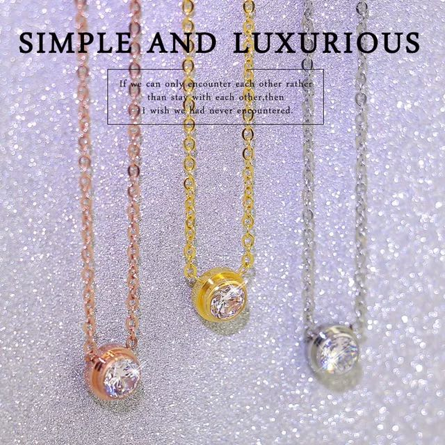 simple luxury necklace rose gold silver petite