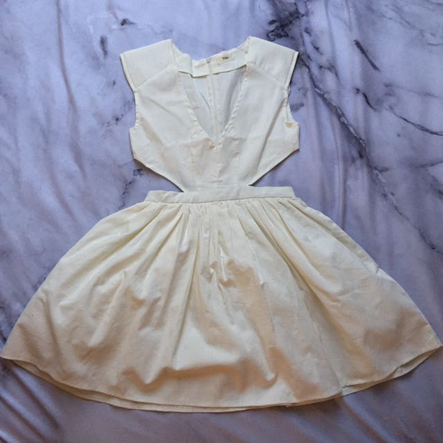 Size S - White Side Cutout Skater Dress
