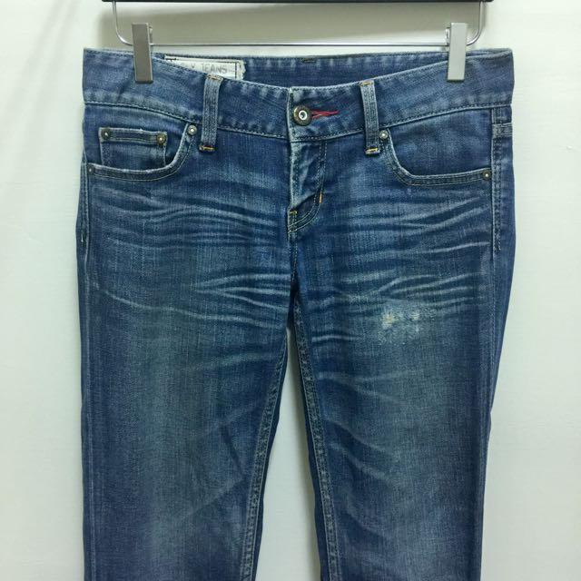 SLY 日牌 正版 skinny 低腰 刷色 合身 小直筒 靴型褲 窄管 牛仔褲
