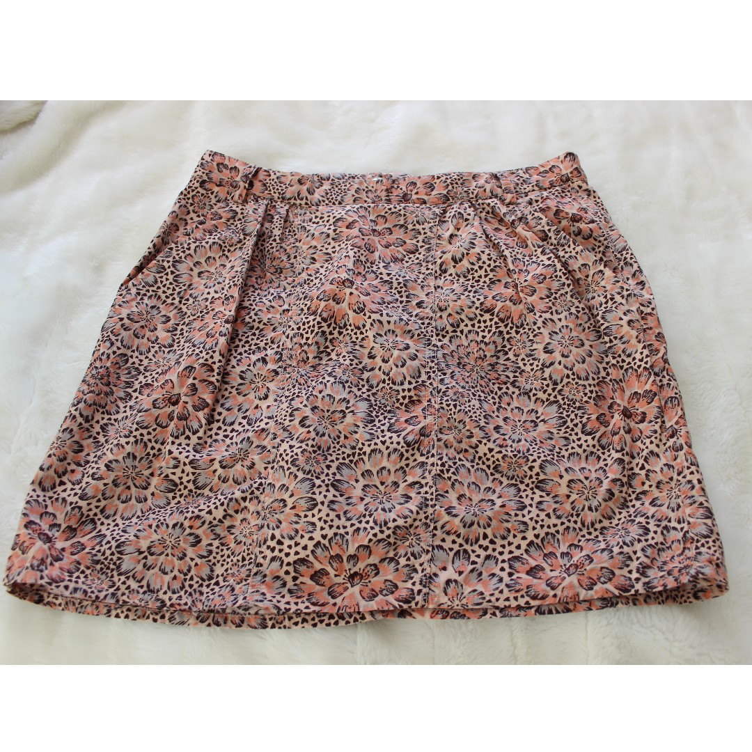 Springfield - Orange Floral Skirt - Preloved - Size 8