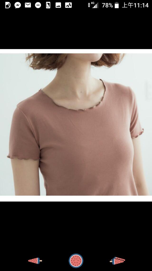 荷葉邊素色短袖t恤