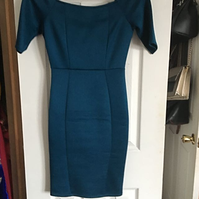 Teal Fitted Dress - F21