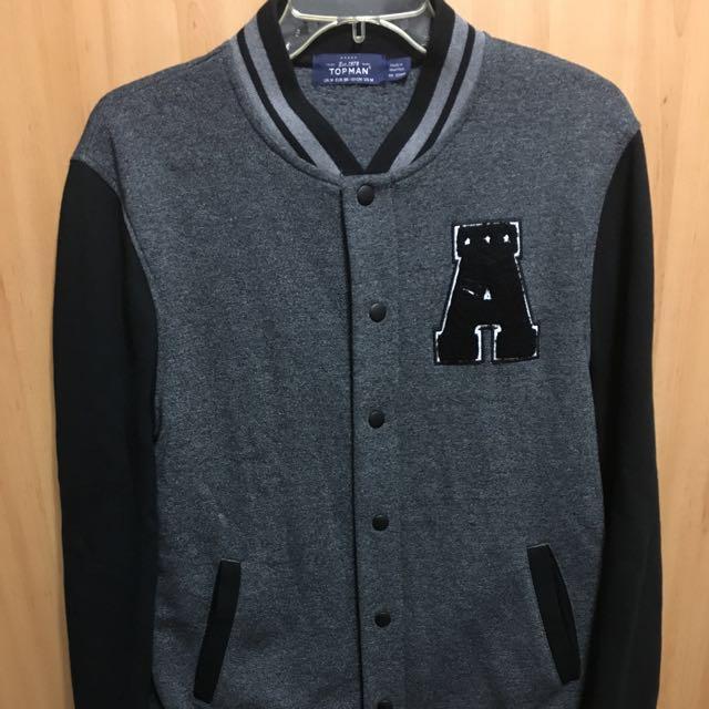 Topman/Topshop 棒球外套 黑灰 保暖 質感