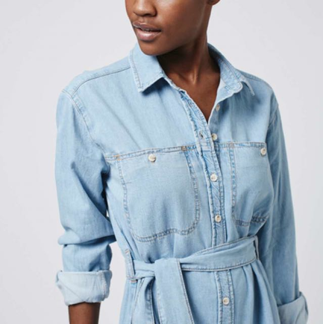 Topshop moto midi denim shirt dress women 39 s fashion for Womens denim shirts topshop