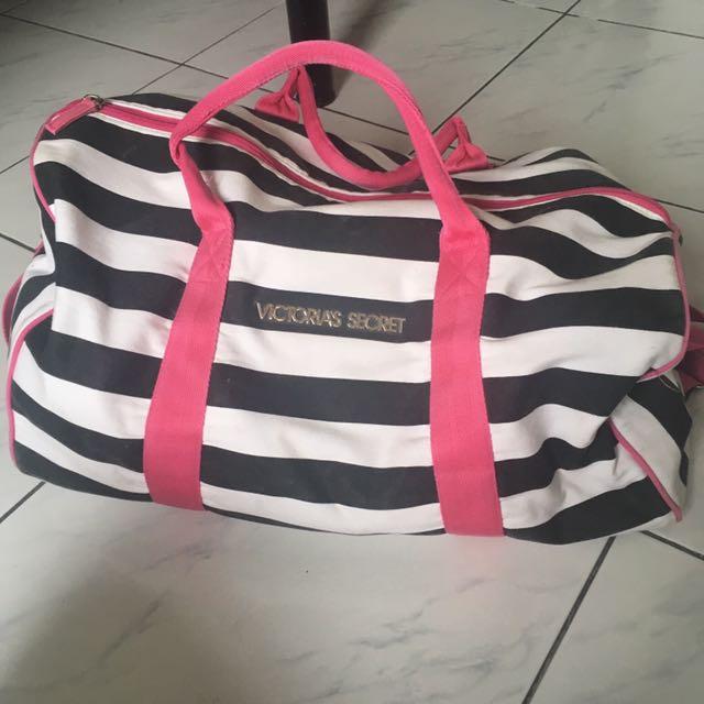 Victoria Secret Stripe Duffel Bag