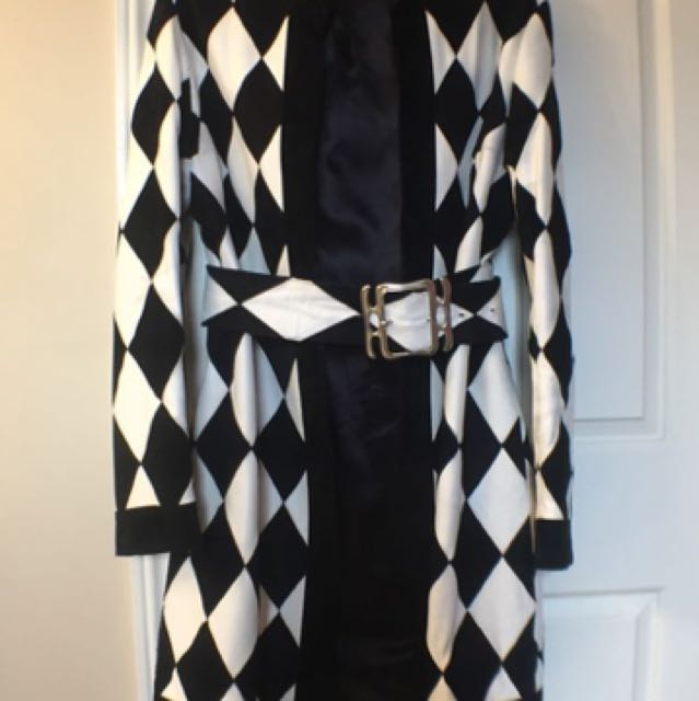 Vintage Harlequin Leather/Suede Coat