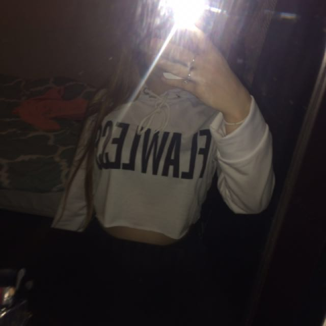 White Flawless Cropped Hoodie