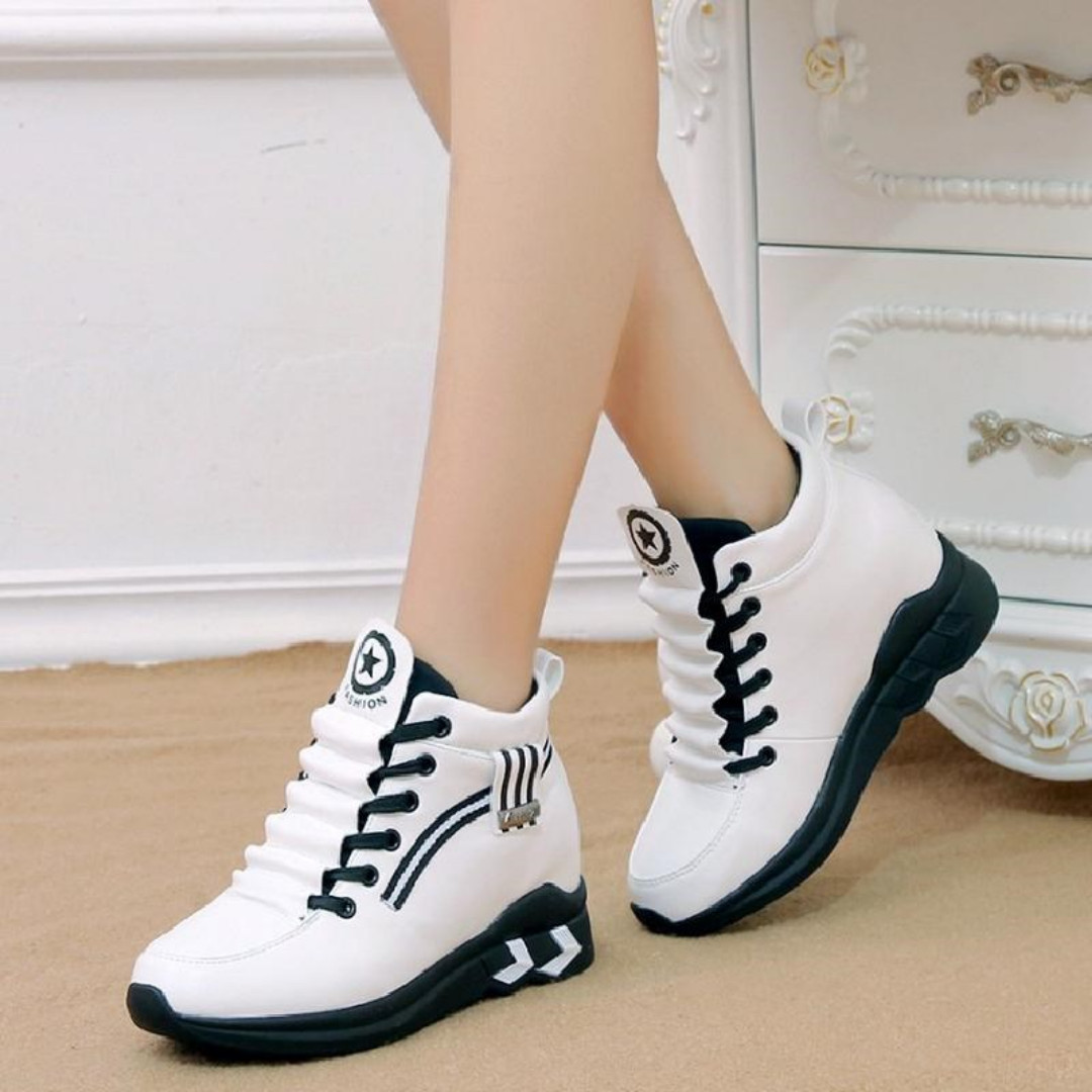 "Women's fashion platform, high ankle running tennis shoes sneakers, white, size 38, 1.25"" / 3cm heel"