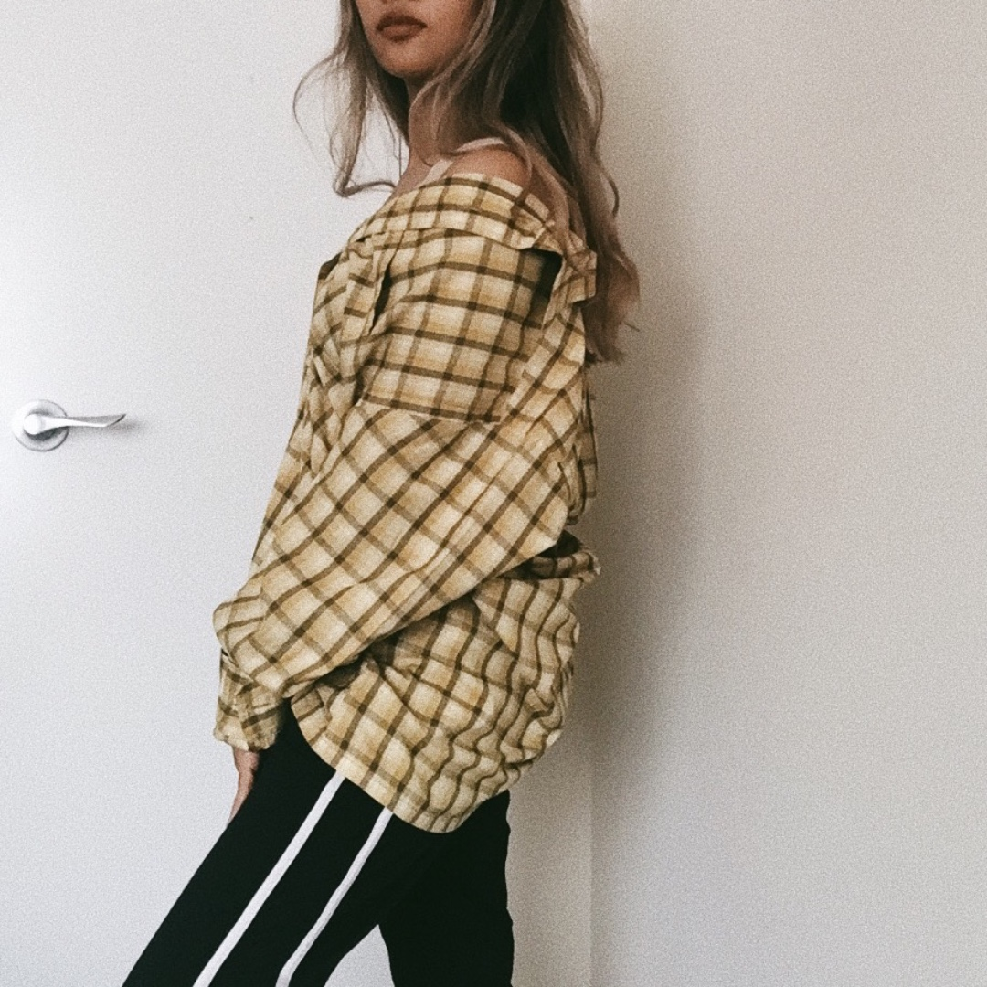 Yellow Checkered Long sleeve button up