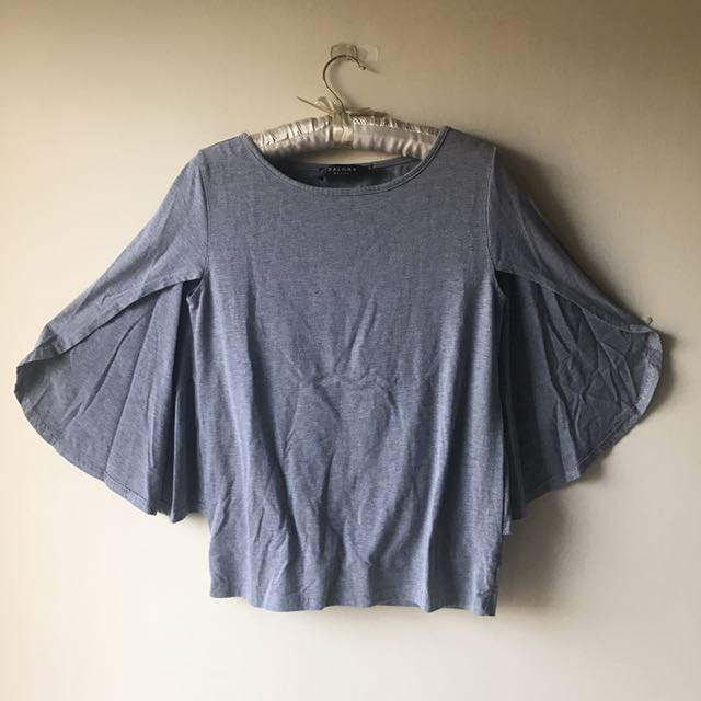 Zalora Gray Cape Top Batwing Sleeves Shirt Size S