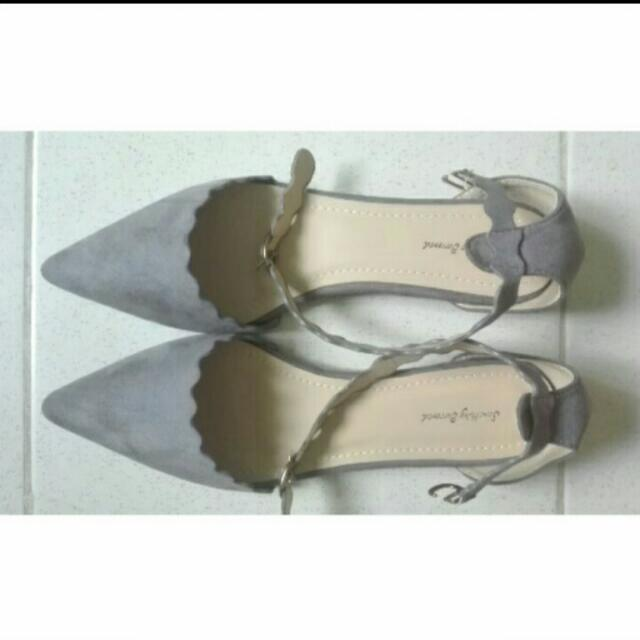 Zalora Pointed Grey Suede Shoes