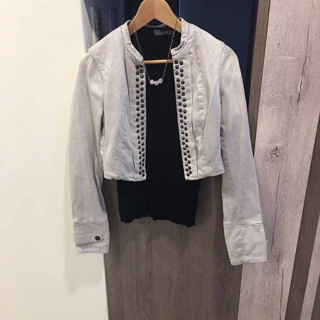 (全新)Zara 騎士風 短版 刷舊 牛仔外套