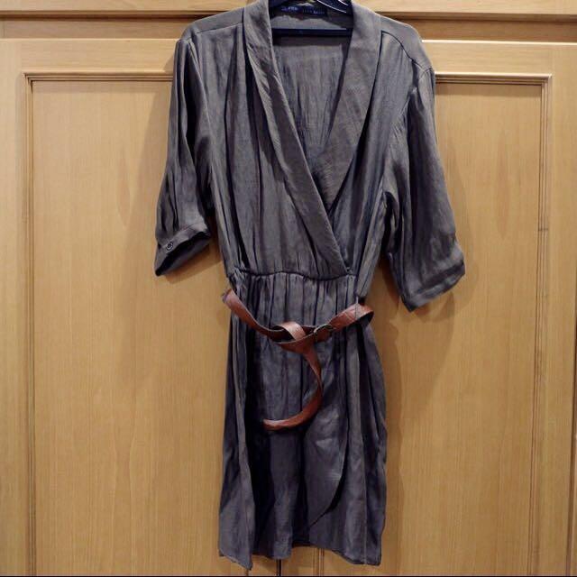 Zara Linen Brown wrap dress