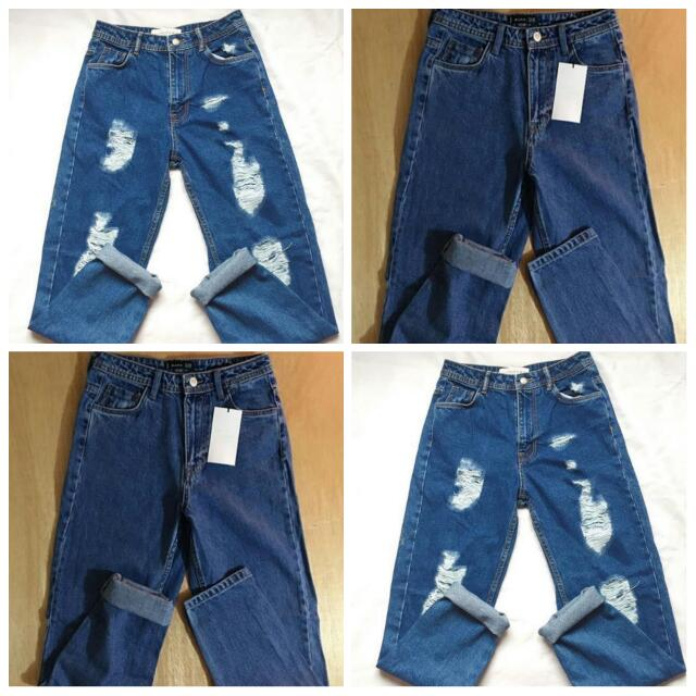 Zara Mom Ripped Denim Pants