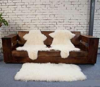 帶花頭/純色綿羊整張皮保暖梳化墊 (預訂貨品)