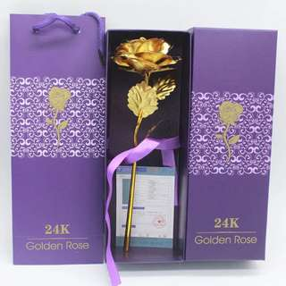 24K Gold Plated Rose Flower (Valentine / Friend / Gift) [Gold / Red / Blue / Purple]