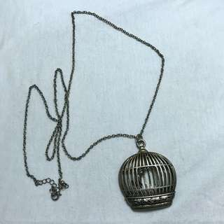 Bird in a Cage Gold Necklace