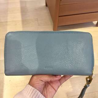 Fossil Emma large Zip Clutch teal blue