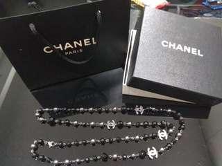Chanel 保証真品黑珍珠頸鏈