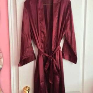 Maroon Silk Robe