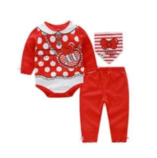 Baby Romper 3 IN 1- red polkadot