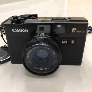 Canon brand, A35 Datelux, 35mm film camera, with build in flash; manual date, focus & ASA adjustable; good condition