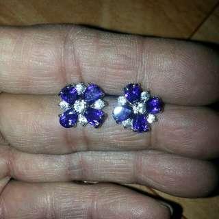 抓鑲紫晶女裝耳環