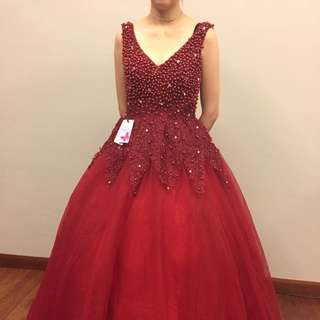 RED Beaded Evening Dress/Gown (Free Can Can worth RM80)