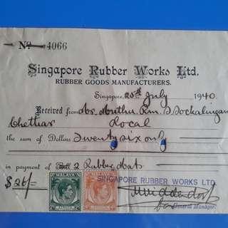 vintage 1940 SINGAPORE Rubber Works Receipt - ma26