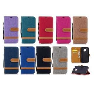 牛仔料混合錢包支架皮革翻蓋手機殼 手機套 電話殼 For Motorola Moto