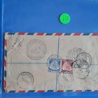 FEDERATED MALAY STATES - 1955 - SERAMBAN ->  india many Cancellation AIR MAIL COVER - ma31