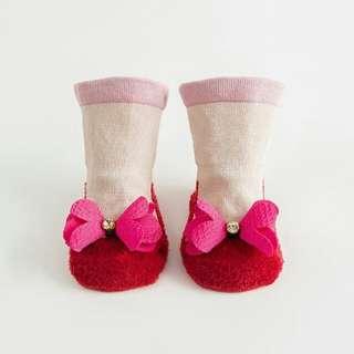 3D Baby Sock -pink ribbon