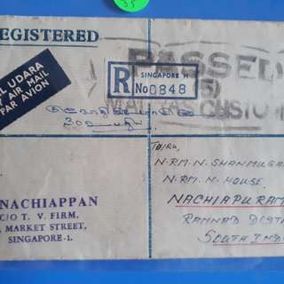 """vintage 1965 SINGAPORE Registered Letter to india """" PASSED MADRAS CUSTOMS """" with 4 Stamps - ma35"""