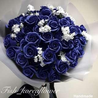 韓式 香皂花 51枝 深藍色 玫瑰花