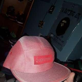Salmon pink flat brim supreme cap