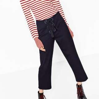 Navy Zara Cropped Trousers