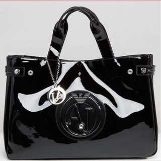 Armani Paton Black Tote Bag