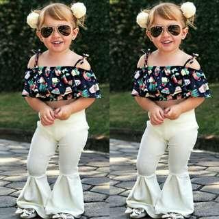 Stylish Baby Girl Off Shoulder Top+Bell Bottom Pants 2pcs Set