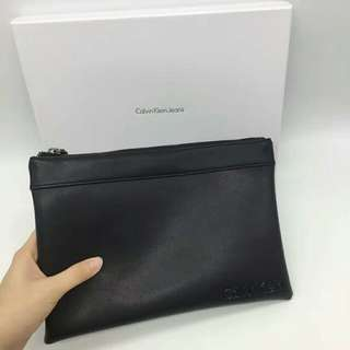 CK soft leather clutch