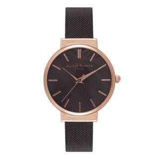 Olivia Burton Hackney Black Dial Mesh & Rose Gold Watch