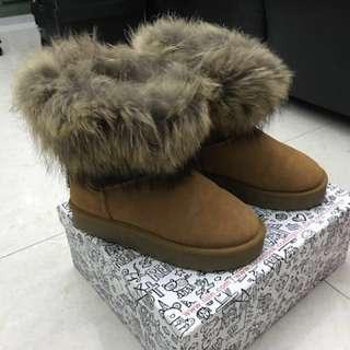 iijin 原價$3900真兔毛內增高雪靴99%new,size買錯只著過一次