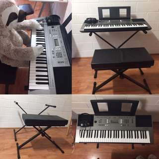 Yamaha PSRE353 61-Key Portable Keyboard package with headphones,stand,chair and power supply