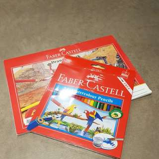 Faber Castell 24 water Colour Pencils            Free drawing board